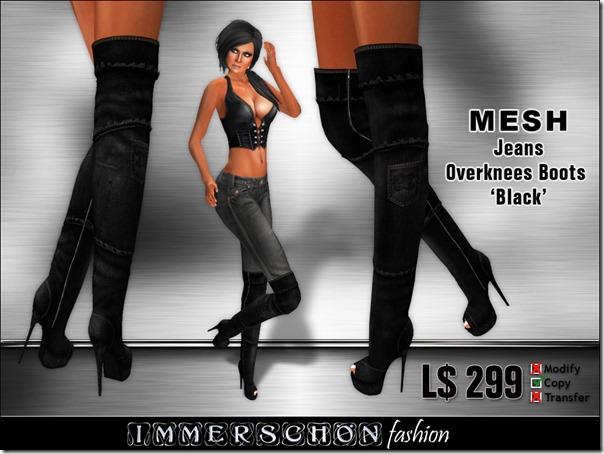 Immerschoen Girl - MESH Jeans Overknee Boots (Black)