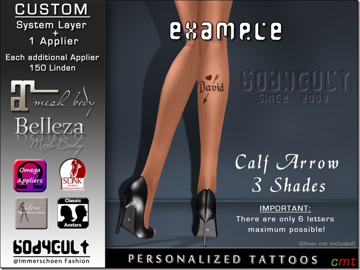BodyCult - Custom Tattoo 'get your personalized' Calf Arrow