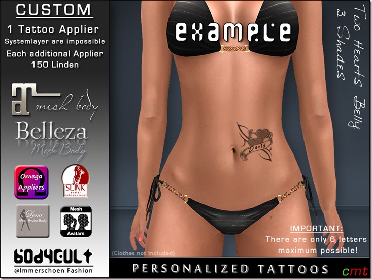 BodyCult - Custom Tattoo 'get your personalized' Two Hearts Belly
