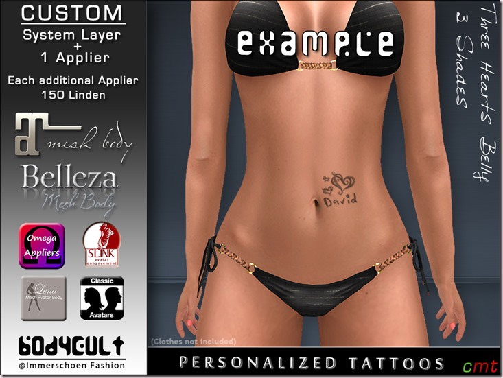 BodyCult Custom Tattoo personalized Three Hearts Belly