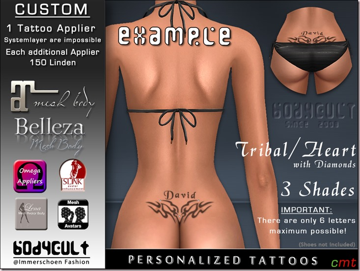 BodyCult Custom Tattoo personalized Tribal Heart Dia