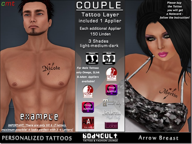 BodyCult Custom Tattoo Couple Arrow Breast